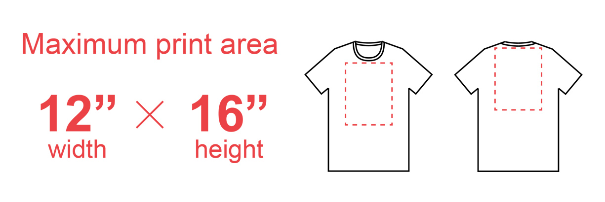 Printful's Direct to Garment printing template showing placement area and size constraints
