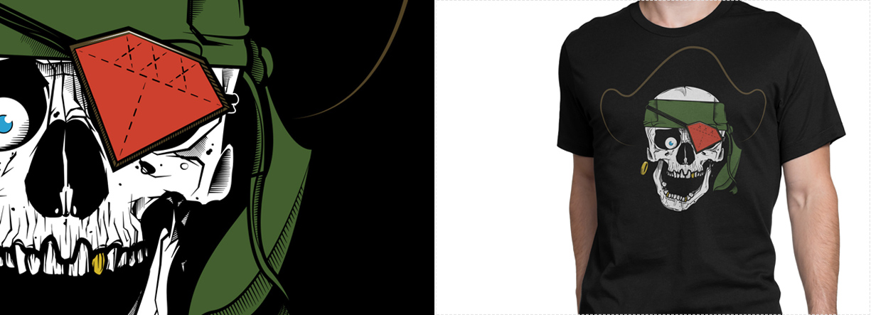 Utilizing the shirt color to create negative space within the design