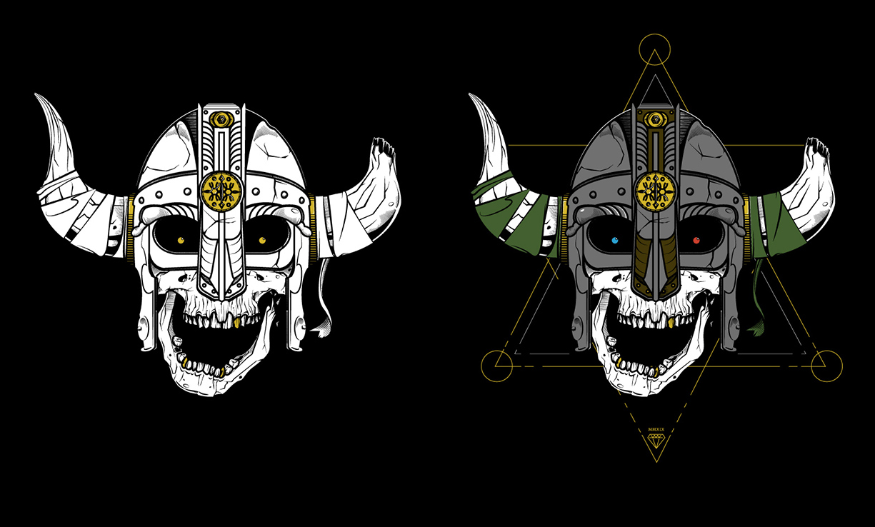 Same design idea but the left might be better suited for screen printing, less colors simpler design. While the right design shows how we can push the design, adding more color and detail as those aren't a concern for DTG printing